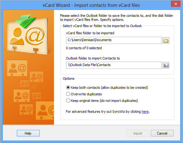 Import vCard to Microsoft Outlook Contacts