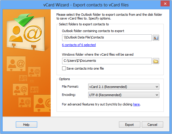Use vCard Wizard Contacts Converter add-in to covert your Outlook contacts to vcf files