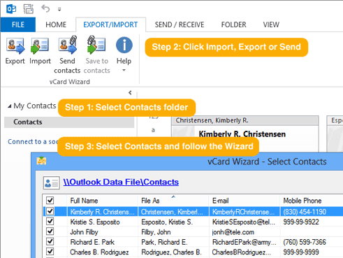 vCard Wizard Contacts Converter vcf convrter for Microsoft Outlook